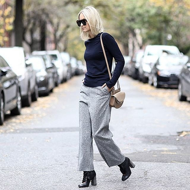 winter fall work outfit-grey tweed pants trousers-cropped pants wide leg pants-ankel booties-booties and shoes-navy top-fall neutrals-saddle bag-thefashionguitar instagram