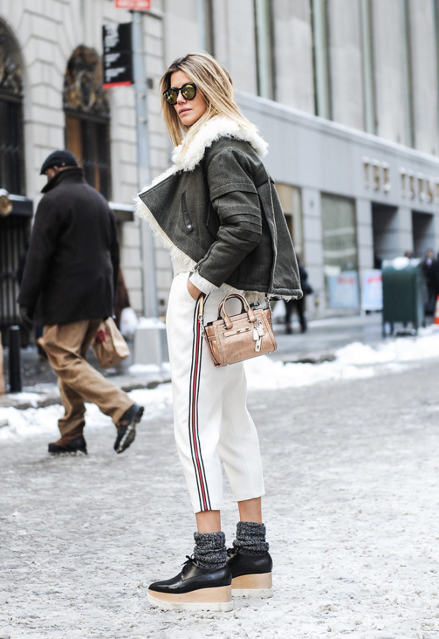 winter outfit socks and creepers platform loafers socks and shoe cropped white pants trousers tuxedo pants shearling jacket winter whites fall work outfit cropped pants in winter mini bag