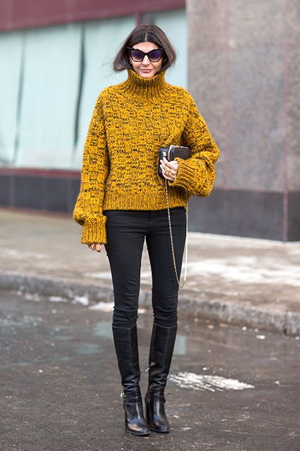 winter outfits without a coat, yellow turtleneck sweater-chunky sweater-black skinnies-knee boots-fall winter weekend outfit-editor style-refinery