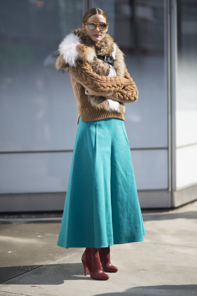 culottes, fisherman sweater, burgundy booties, teal, fur scarf, olivia palermo, what to wear to work, winter work outfit