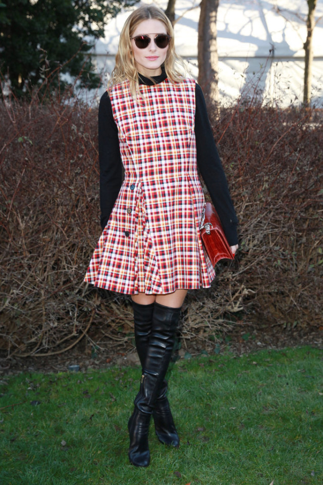 olivia palermo, plaid dress, turtleneck, black over the knee boots, paris couture fashion week, street style