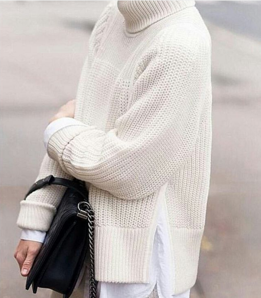 what to wear when it's freezing, winter whites, layering, chunky turtleneck sweater, button up shirt, all white