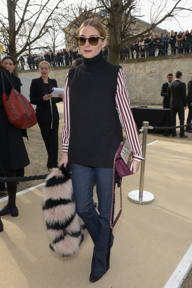 what to wear to work this week, flare jeans, bold stripes, sweater vest, olivia palermo