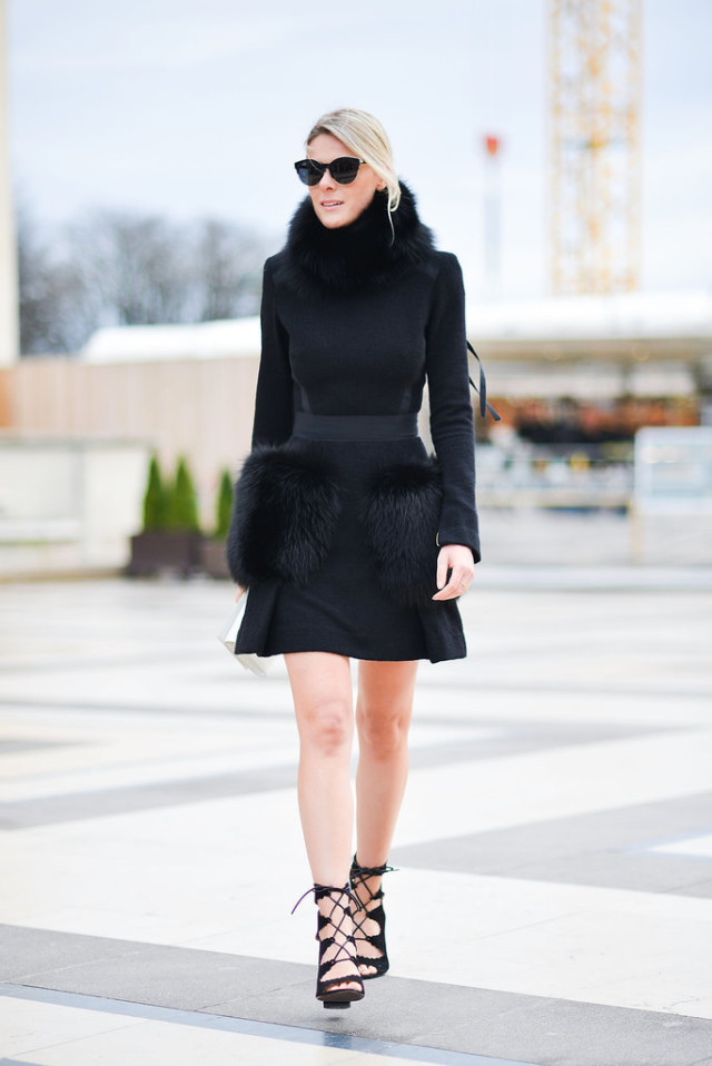 all black-fur trim-lace up heels-texture-fur dress-paris couture fashion week-getty