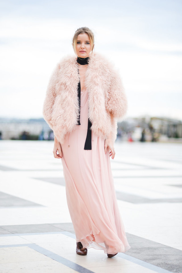 blush pink-pink and black skinny scarf-fur -colored fur-maxi dress-valentines day-romantic-girly wedding-paris couture fashion week-getty