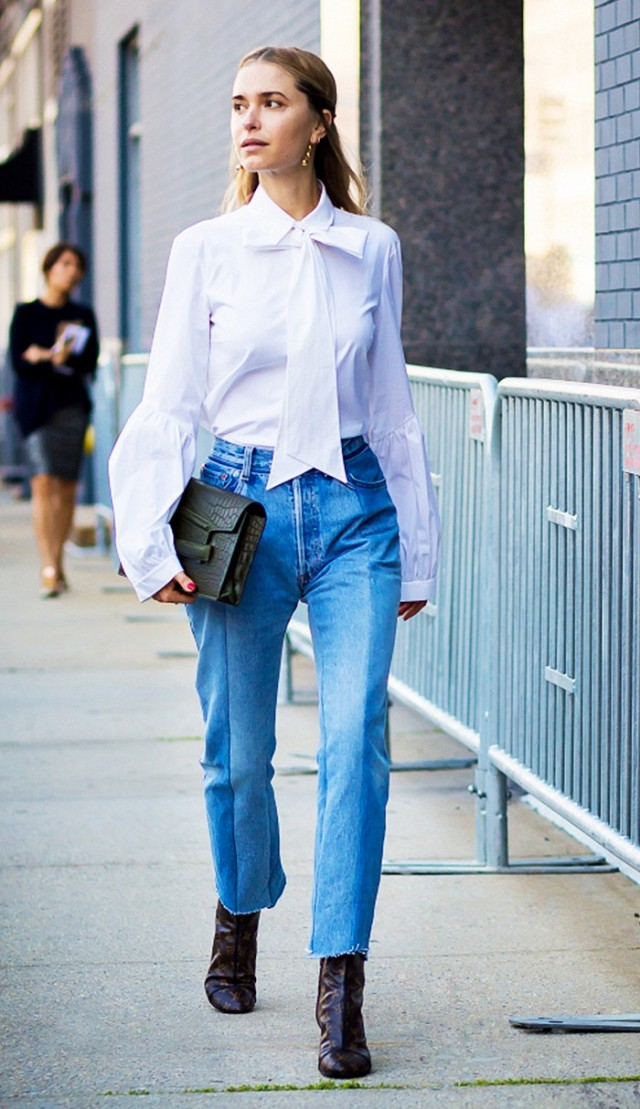 bow blouse-cropped jeans and booties-frayed denim-hemlines-hems -mom jeans-work outfits-night out-giong out-