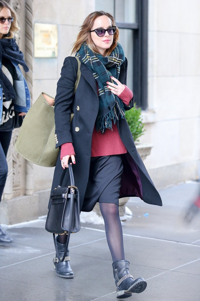 what to wear to work, pencil skirt, sweater, moto boots, dakota johnson