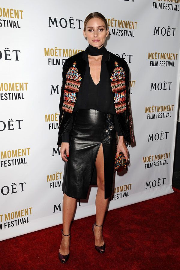 choker shirt-olivia palermo-ankle strap heels-leather pencil skirt-embroidered jacket-going out night out weekend-getty