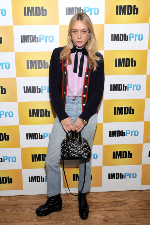 sundance film festival, snow outfits, chloe sevigny, bow blouse, cropped jeans, cardigan, ladylike