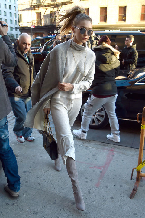 gigi hadid-weekend outfit-greige-grey boots-sweatpants-culottes-pants set-monochromatic-all grey-