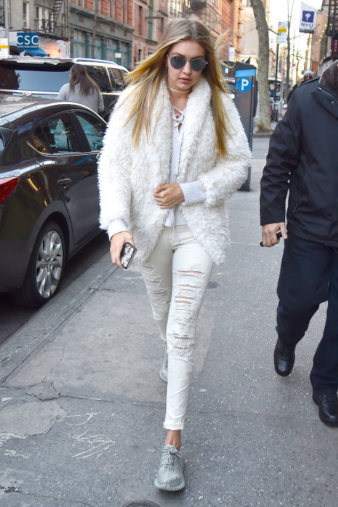 lace front, tie front, shredded jeans, all white, white jeans, fur coat, gigi hadid