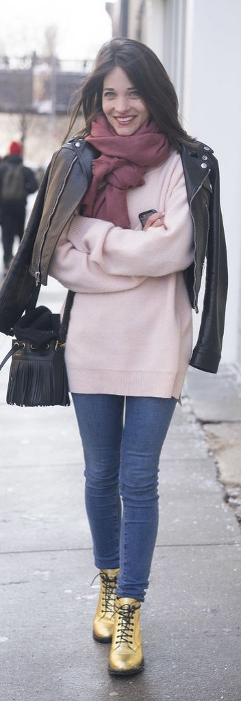 gold booties-maria duenas jacobs-lace up booties-pink sweater blush-moto jacket-winter outfit-brunch outfit
