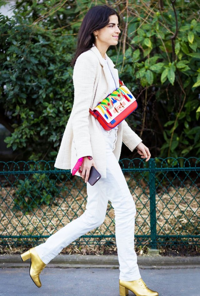 gold lace up booties-white jeans-fall whites-white blazer-leandra medine-man repeller-via www