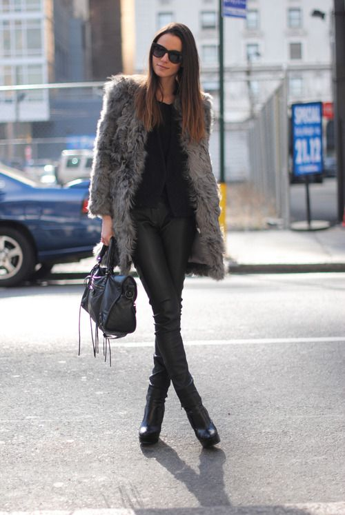 grey fur coat-all black-winter outfit-night out-giong out-