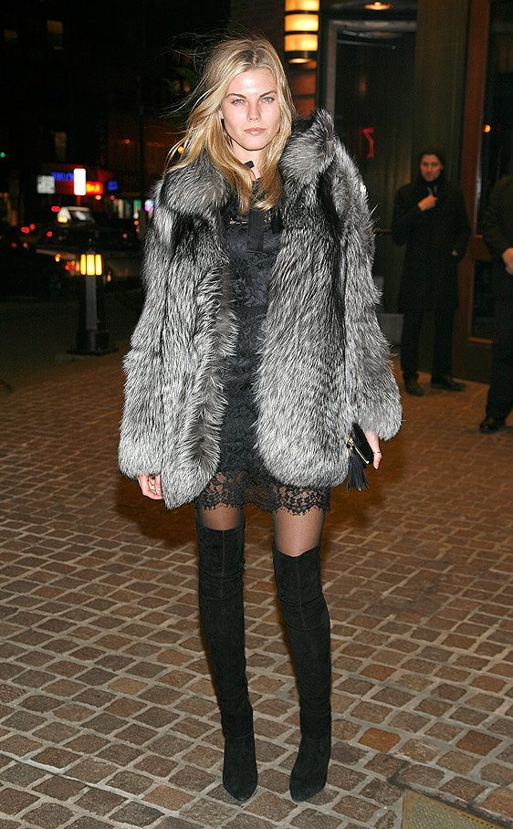 grey fur coat-black lace slip dress-blak over the knee thigh high boots-model off duty style-cocktail party-night out-black and grey-