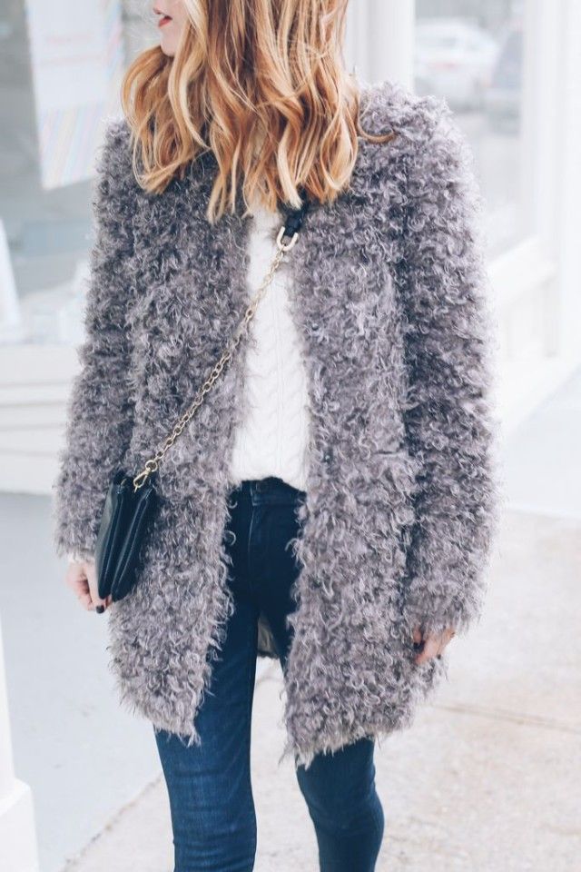 grey fur coat-jeans and white cable knit sweater-weekend outfit-winter brunch outfit-via-