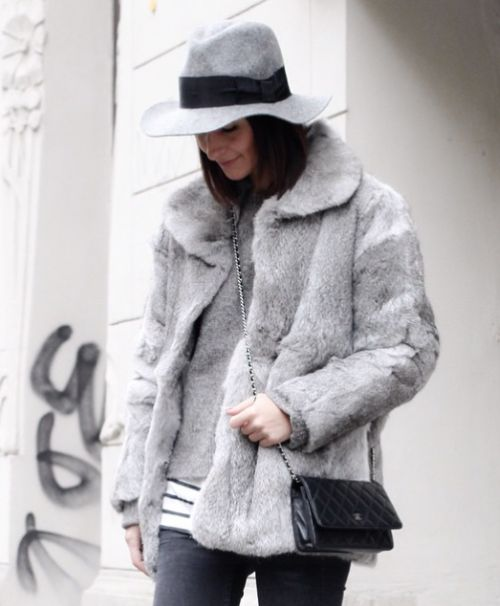 grey fur coat-striped shirt-winter layers-winter weekend outfit-brunch outfit-wide brim hat-via