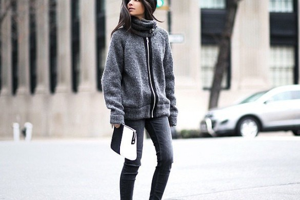 grey-monochromatic-groutfits-burgundy booties-zipper sweater coat-instagram hauteinhabit