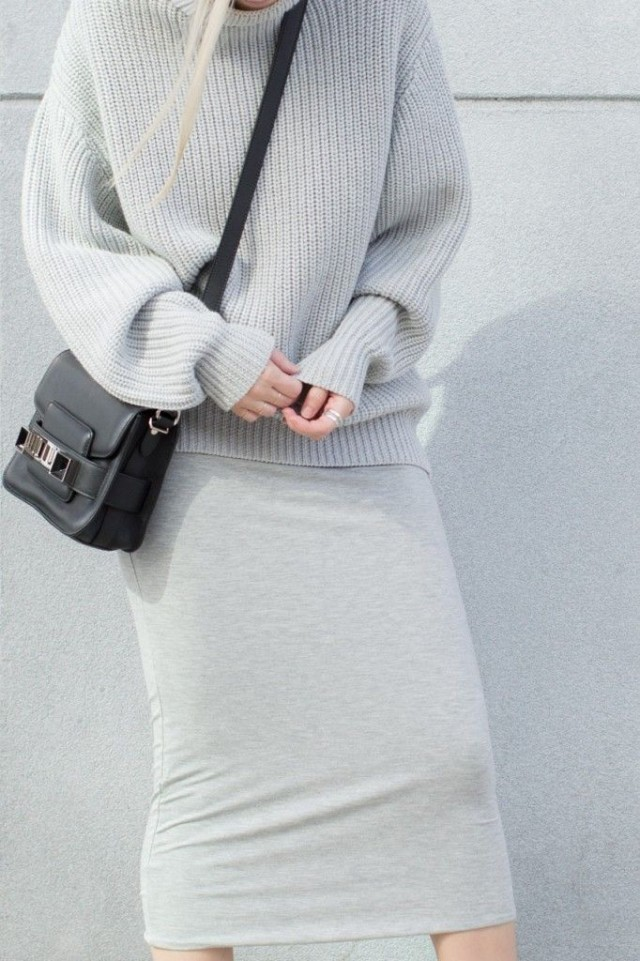 grey-monochromatic-groutfits-chunky sweater-pencil skirt-figtny