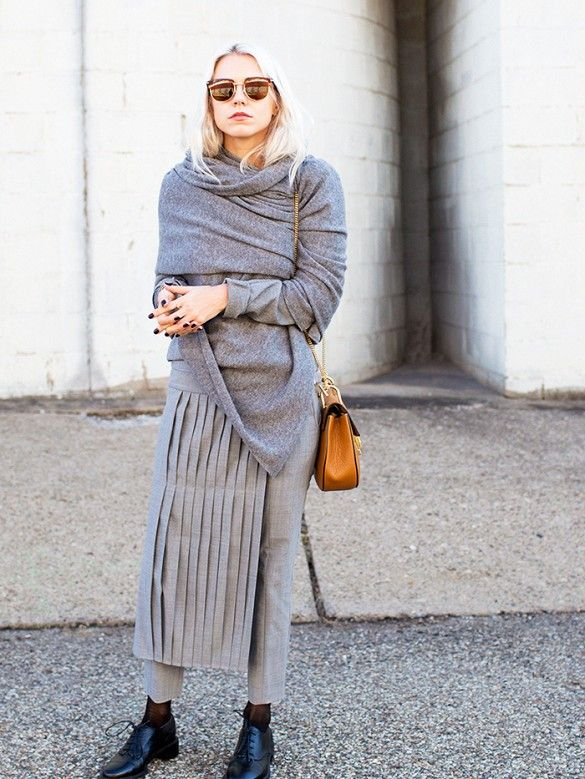 grey-monochromatic-groutfits-dress over pants-skirt over pants-apron pants skirt-wrap sweater-winter work-www
