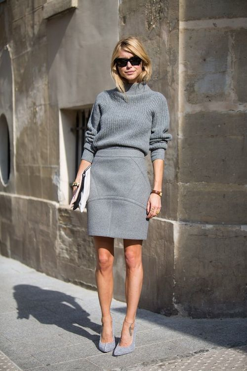 grey-monochromatic-groutfits-grey turtleneck sweater-grey pencil skirt-look de pernille-leseclariesuses.com