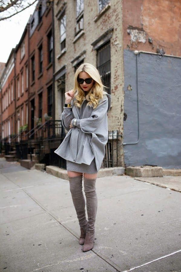 grey-monochromatic-groutfits-over the knee boots-grey coat-atlantic-pacific