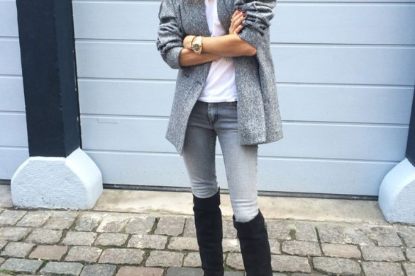 grey-monochromatic-groutfits-sweater coat-black over the knee boots-look de pernille