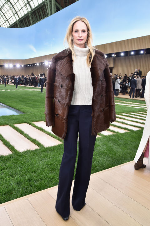Lauren Santo Domingo-paris couture fashion week-shearling fur coat-turtleneck sweater-wide leg jeans pants-editor style