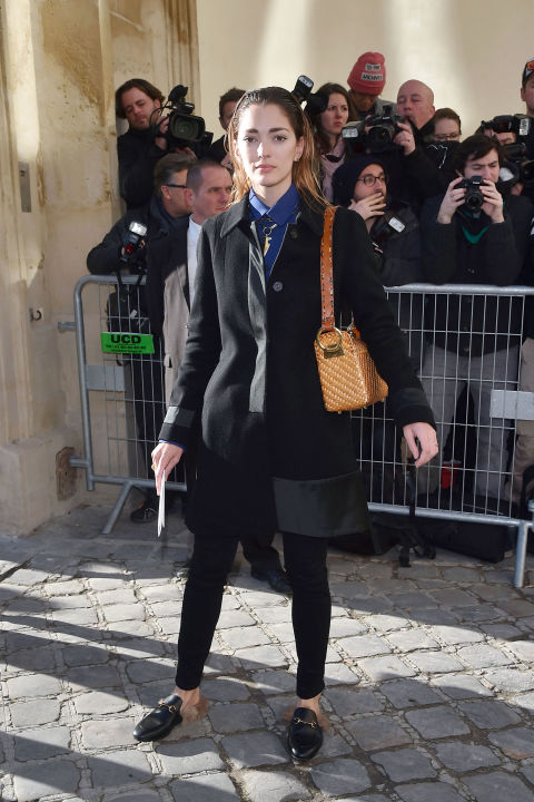 paris couture fashion week-black skinnies-black coat--sofia-sanchez-barrenechea