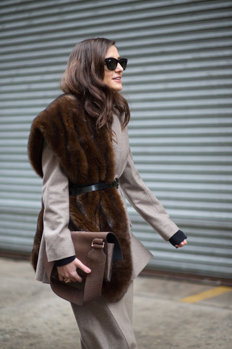 what to wear when it's freezing out, fur stole scarf, belted jacket, layering, winter work outfit