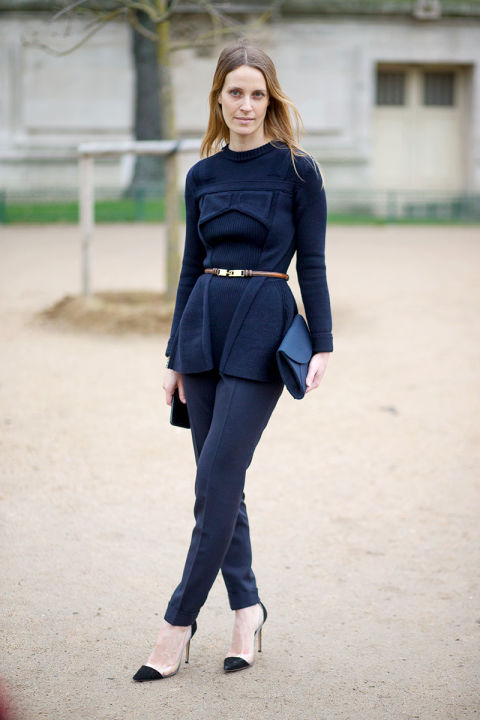 paris couture street style, belted top, navy, what to wear this weekend
