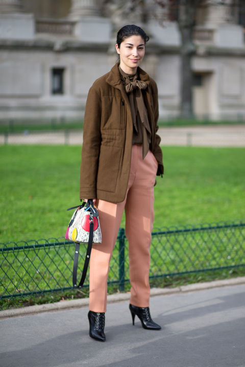 paris couture street style, caroline issa, peach and brown, tie neck blouse, booties, cropped pants and booties