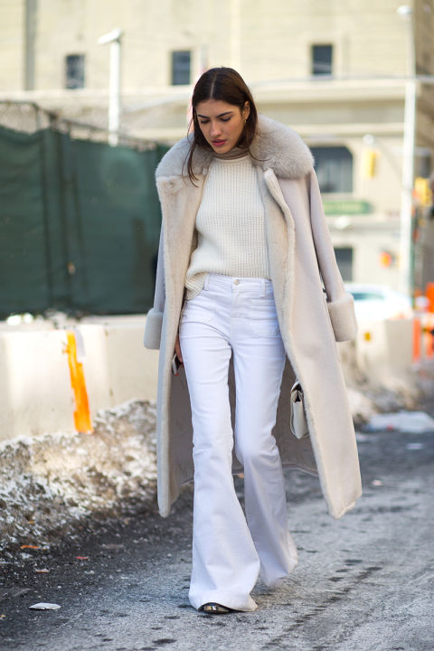 what to wear when it's freezing out, white flare jeans, winter whites, all white, fur trim coat, white coat
