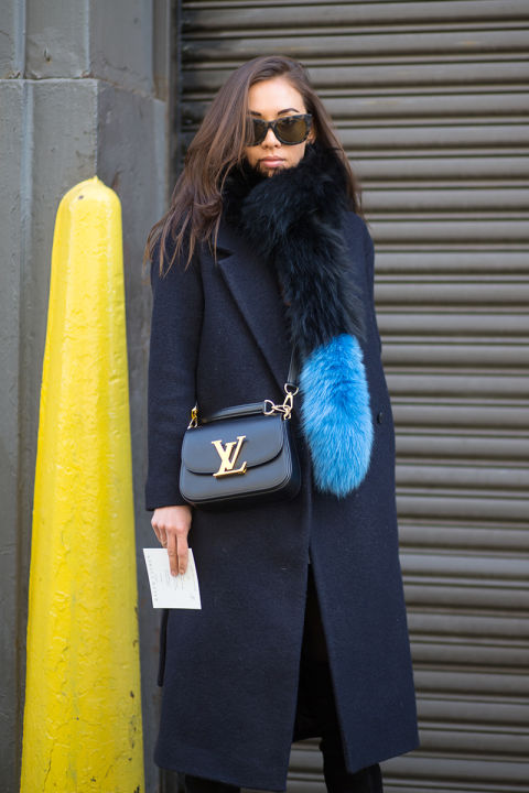 what to wear when it's freezing, navy coat, fur scarf