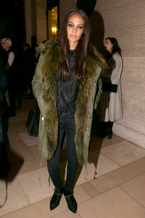 hbz-paris couture fashion week-green fur coat-black skinnies-navy and black-sheer top-going out-party-model off duty style-joan-smalls
