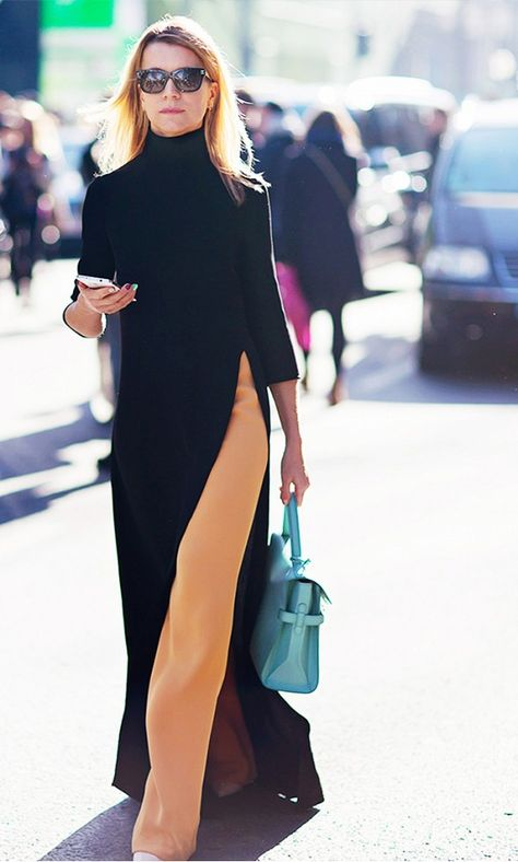 turtleneck dress over pants