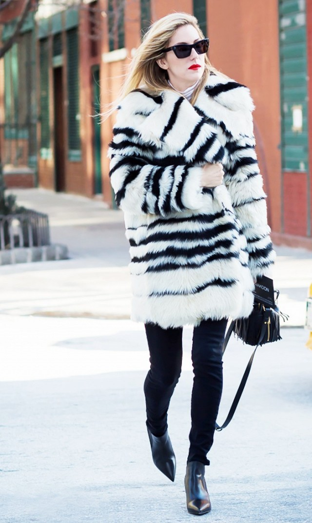 what to wear when it's freezing, joanna hillman-striped fur coat-black skinnies-chelsea boots-vias-