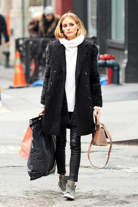 olivia-palermo-repeat-high tops-leather skinnies-white turtleneck sweater-black furry coat-what to wear when its freezing-shopping-weekend-hbz