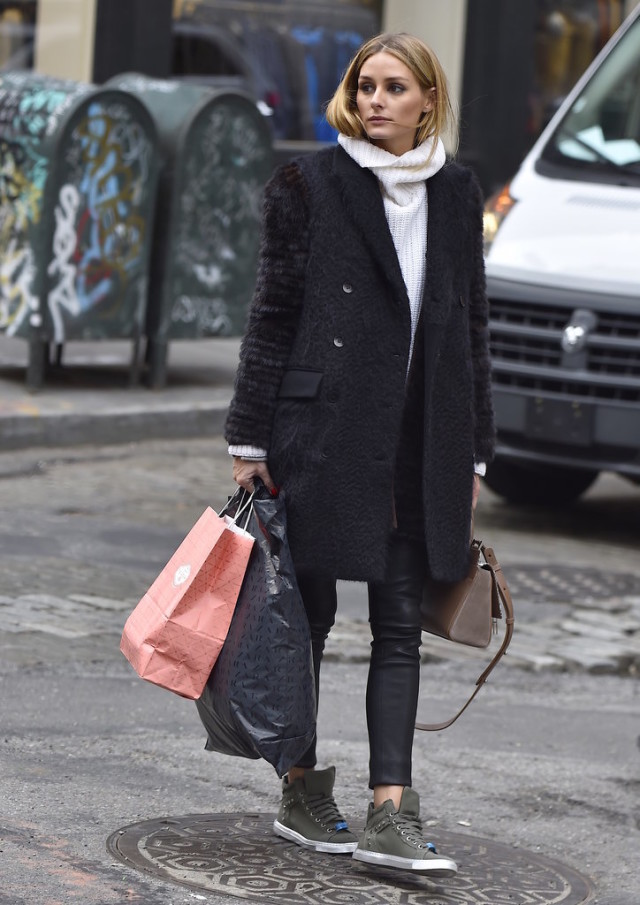 olivia palermo-winter outfit-turtleneck scarf-black leather skinnies-high tops sneakers-winter weekend-winter work-winter brunch--shopping outfit-what to wear shopping
