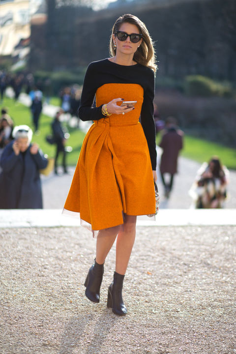 paris couture street style 2016-orange-night to day dressing-style hack-shirt under dress-black ankle boots-black and orange-helena bordon-hbz