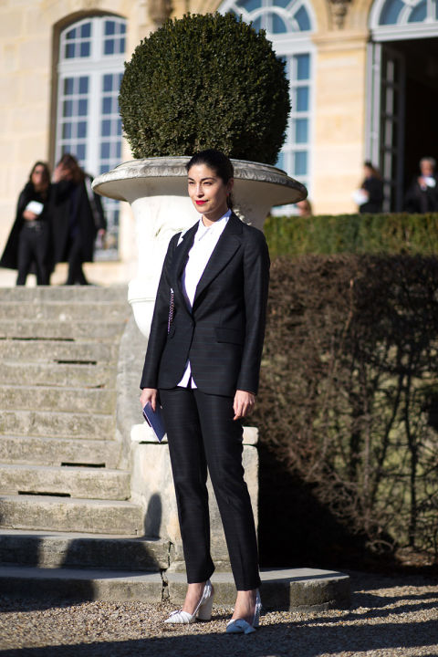 paris couture street style 2016-pants suit-black and white-caroline issa-work outfit-hbz