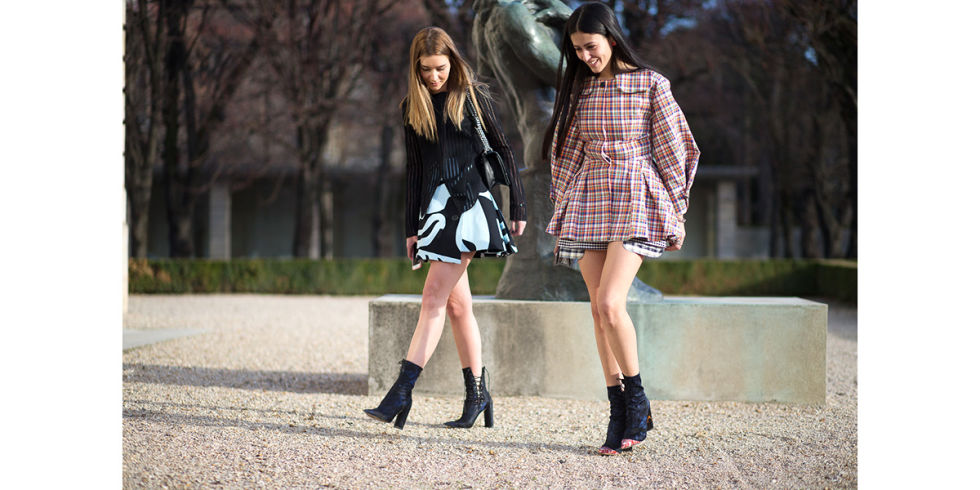 paris couture street style 2016-plaid-ankle boots-prints-flirty skirt-hbz