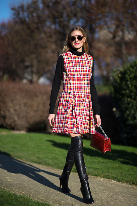 paris couture street style 2016-plaid jumper-turtleneck-turtleneck under jumper-over the knee boots-work outfit-hbz