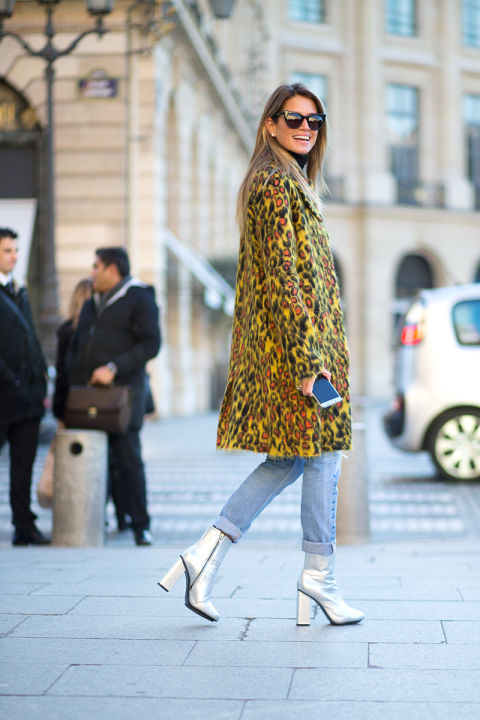 paris couture street style 2016-silver booties-rolled jeans-leopard print coat-hbz