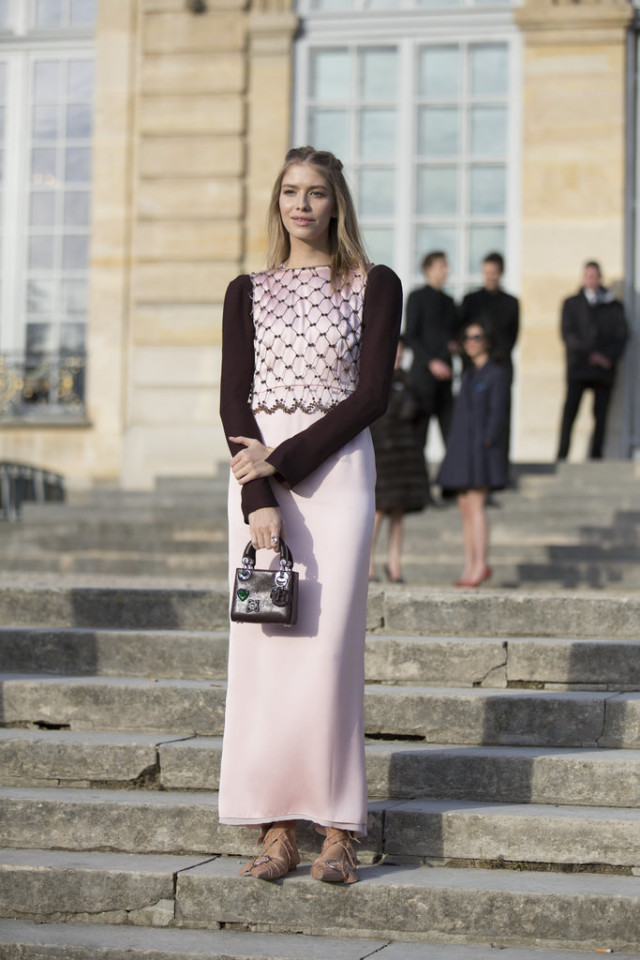 pink and black-blush pink-long maxi skirt-valentines day-ladylike-girly-paris couture fashion week-getty