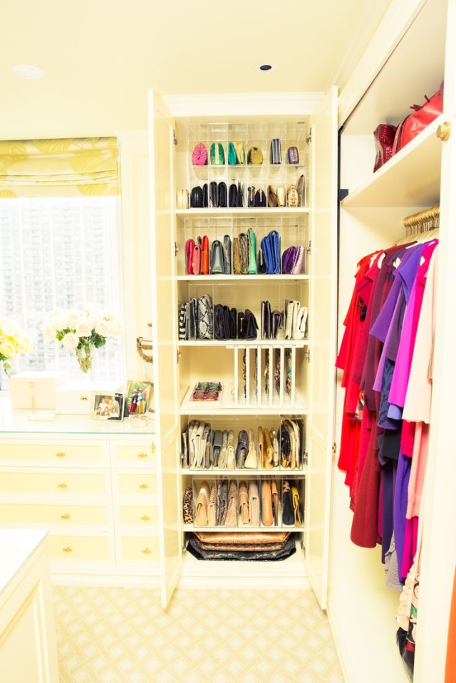 purse organization-handbag storage-closet organizing-hanging handbags-store purses in shelves in a closet cabinet-thecoveteur-celeb closets