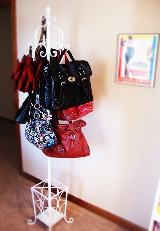 purse organization-hang purses on a coat rack-closet organization-apttherapy