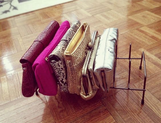 purse organization-store purses in magazine files-closet organizing-via-goodhousekeeping.com
