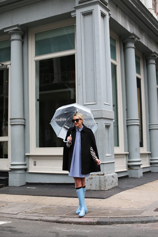rain boots-pastels in winter-cape-brunch-shower-party-spring-winter to spring dressing-shirtdress-
