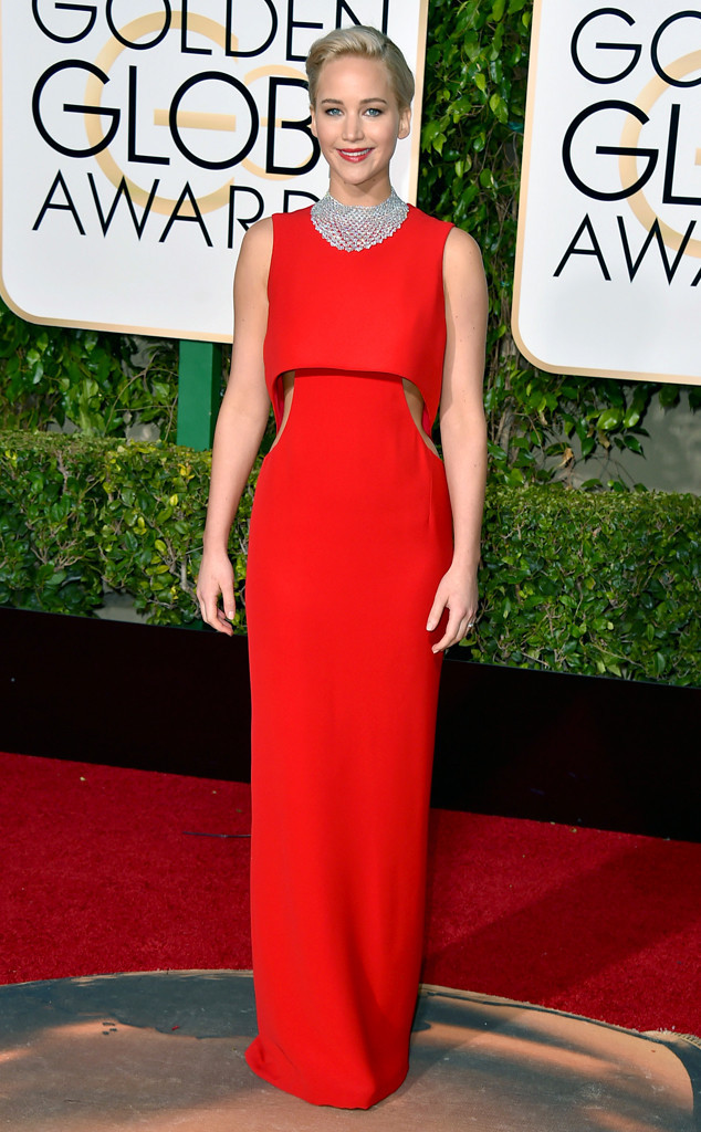 golden globes 2016 red carpet fashion jennifer lawrence